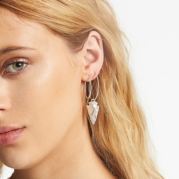 Frida Spearhead Hoops in Sterling Silver