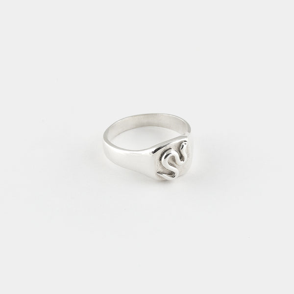 Snake Goddess Signet Ring in Sterling Silver