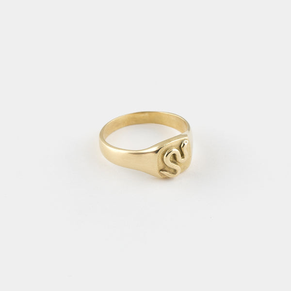 Snake Goddess Signet Ring in Gold