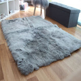 Rectangular sheepskin rug grey silver