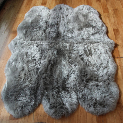 Genuine silver grey sexto sheepskin rug L single Rare eco pelt