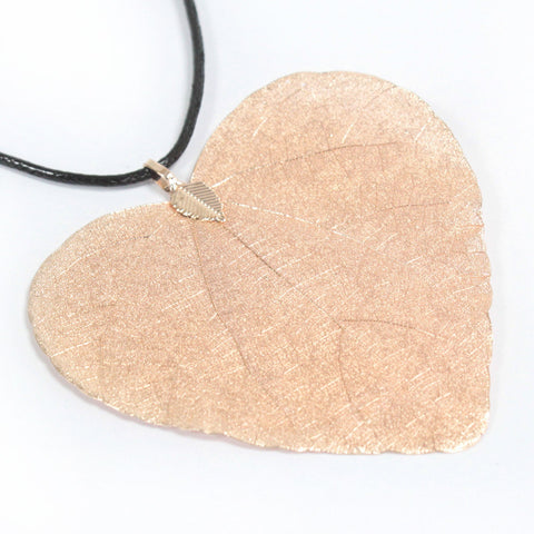Rose gold electroplated leaf pendant