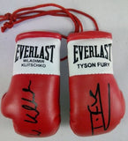 Tyson Fury Vs Wladimir Klitschko Autographed Mini Boxing gloves (collectable)