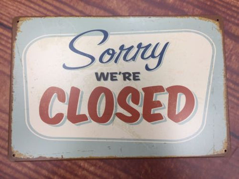 vintage retro metal sign plaque Plaque Closed Shop Cafe Sign