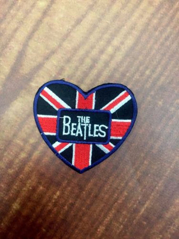 Beatles Union Jack Heart Iron-on/sew-on Embroidered Patch Heat Fix Legends