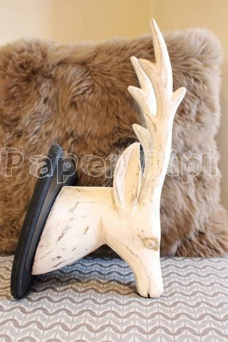 Large Wooden Deer / Stag Head Antique Effect In White Paint Christmas Gift