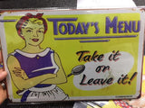 vintage retro metal sign plaque Menu Lady  Shop Cafe Sign