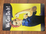 vintage retro metal sign plaque You Can Do It Woman Rosie Riveter