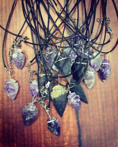Lovely Wire Wrapped Amethyst Arrowhead Pendant On Trend  Genuine Crystal