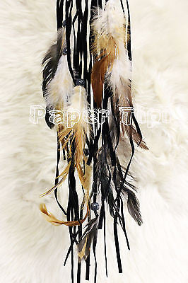 Tree of life dream catcher with smokey quartz, suede material beads and feathers