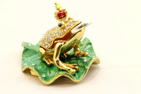 Prince of  Frogs on Lily pad enamelled and Diamante encrusted hinged trinket box