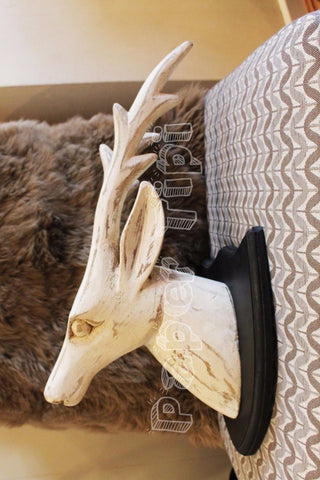 White wash wooden carved deer head mounted Indian rustic gorgeous. 22x24x45 cm