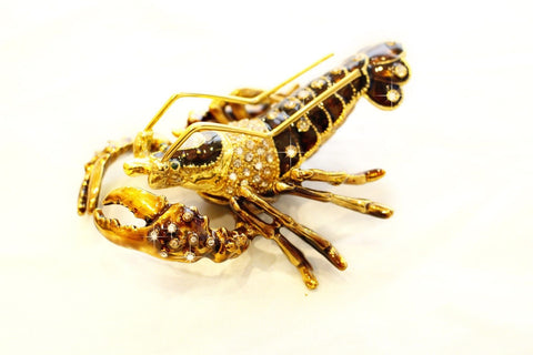 Lobster enamelled and Diamante encrusted hinged trinket box or Pill box