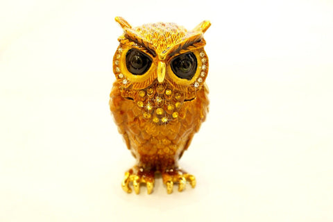 large eyed Owl enamelled and Diamante encrusted hinged trinket box or pill box