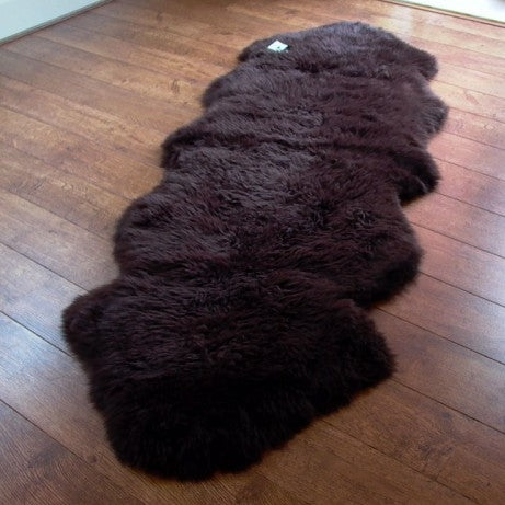 Genuine Chocolate double sheepskin rug L single Rare eco pelt