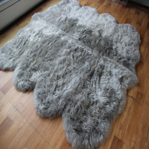 Genuine silver grey octo sheepskin rug L single Rare eco pelt
