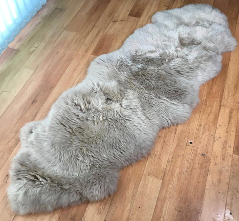 Genuine DOUBLE silver grey taupe sheepskin rug L single Rare eco pelt