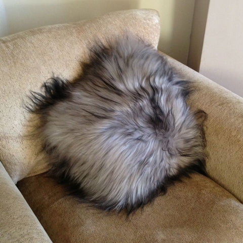 Rare breed natural grey icelandic sheepskin cushion