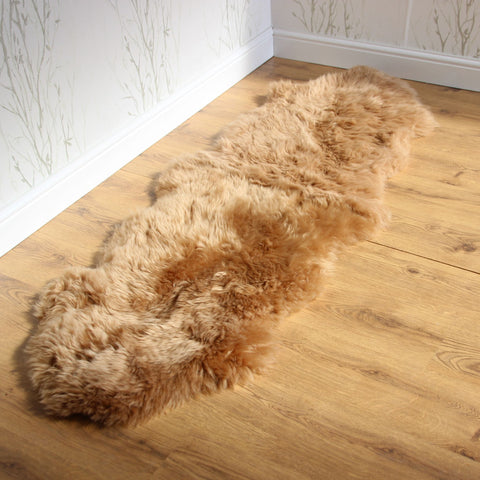 Genuine DOUBLE caramel brown sheepskin rug L single Rare eco pelt