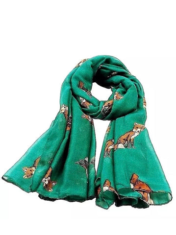 Foxes green Scarf  fox design