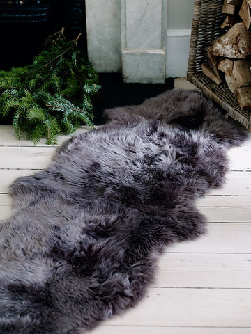 Genuine DOUBLE charcoal black sheepskin rug L single Rare eco pelt