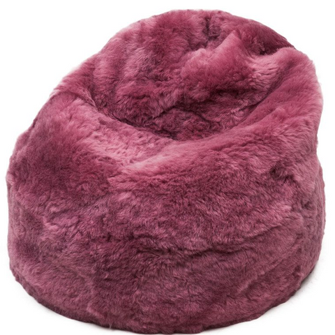 Luxury pink shorn Sheepskin bean bag