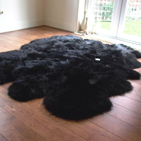 Genuine black sexto sheepskin rug L single Rare eco pelt