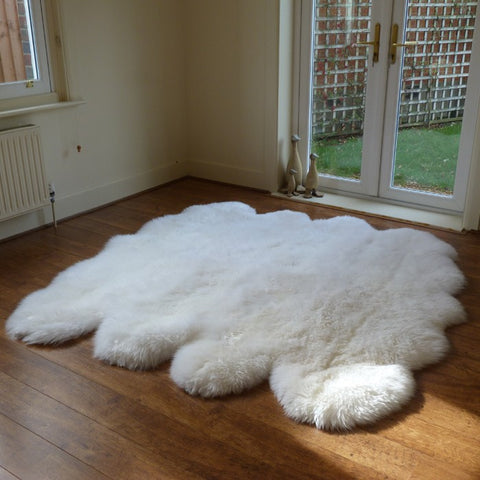 Genuine white octo sheepskin rug L single Rare eco pelt