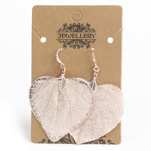 Rose gold electroplated leaf earrings