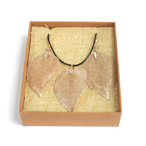 Rose gold electroplated leaf earring & pendant set