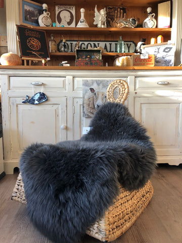 Genuine Charcoal Grey  Eco sheepskin rug eco pelt STUNNING  Fur