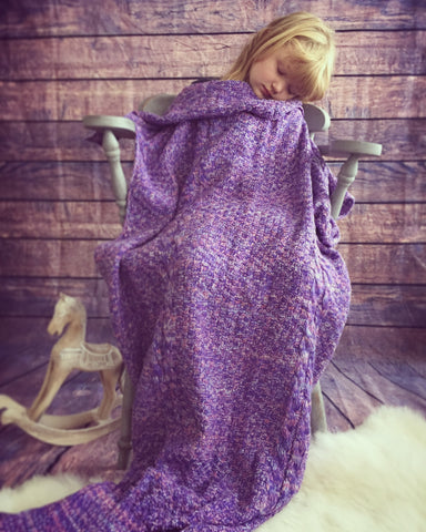 Knitted mermaid tail blanket stunning gift idea for kids & adults luxury purple