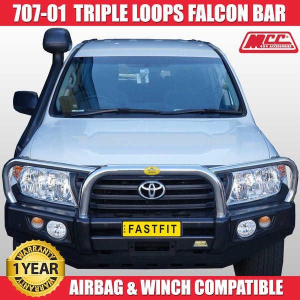 MCC 707-01 Stainless Steel Triple Loops Falcon BullBar to suit Toyota LandCruiser 200s 10/2015-ON