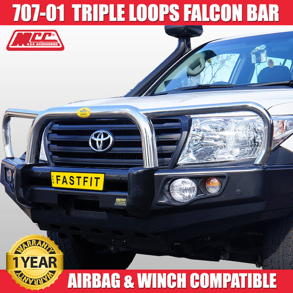 MCC 707-01 Stainless Steel Triple Loops Falcon BullBar to suit Toyota LandCruiser 100s 1998-11/2007