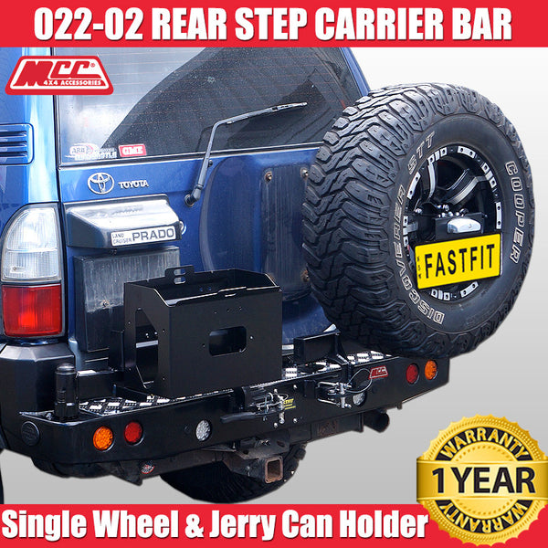 MCC 022-02 Rear Step Carrier Bar with Single Wheel Carrier & Single Jerry Can Holder to suit Toyota LC Prado 90s 05/1996-02/2003