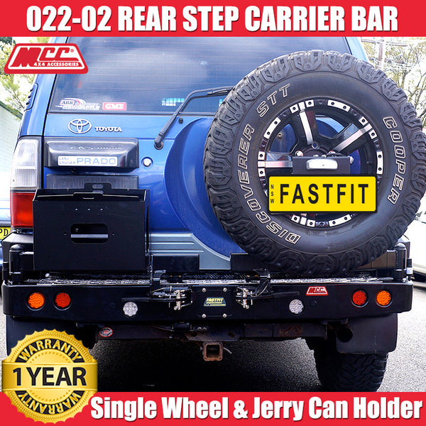 MCC4x4 022-02 Rear Step Carrier Bar With Single Wheel Carrier & Single Jerry Can Holder To Suit Toyota Prado 90 -1996 - 2002