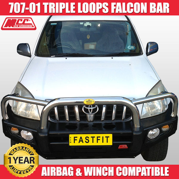 MCC 707-01 Stainless Steel Triple Loops Falcon Bull Bar to suit Toyota Prado 120s 03/2003-11/2009