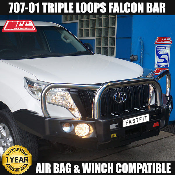 MCC 707-01 Stainless Steel Triple Loops Falcon Bull Bar to suit Toyota Prado 150s 11/2009-2017