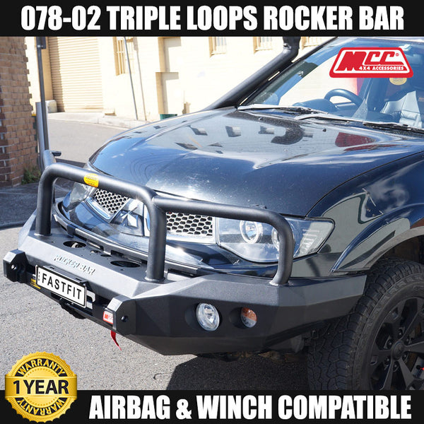 MCC 078-02 Triple Loop Rocker Bullbar to suit Mitsubishi ML Triton 07/2006-08/2009