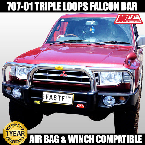 MCC4x4 707-01 Stainless Triple Loops Falcon Bull Bar To Suit Mitsubishi Pajero NH NL 1992-1999