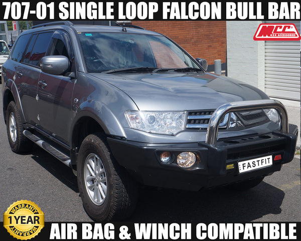 MCC 707-01 Stainless Steel Single Loop Falcon BullBar to suit Mitsubishi Challenger PC 12/2009-12/2015