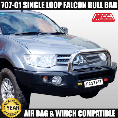 MCC4x4 707-01 Stainless Steel Single Loop Falcon Bull Bar To Suit Mitsubishi Challenger PC 2016 ON