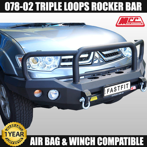 MCC4x4 078-02 Triple Loop Rocker Bull Bar To Suit Mitsubishi Challenger 2009 - 2011