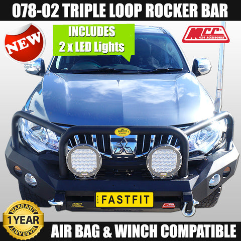 MCC4x4 078-02 Triple Loop Rocker Bull Bar To Suit Mitsubishi Triton MQ - 01/ 2015 ON 'COMBO DEAL'