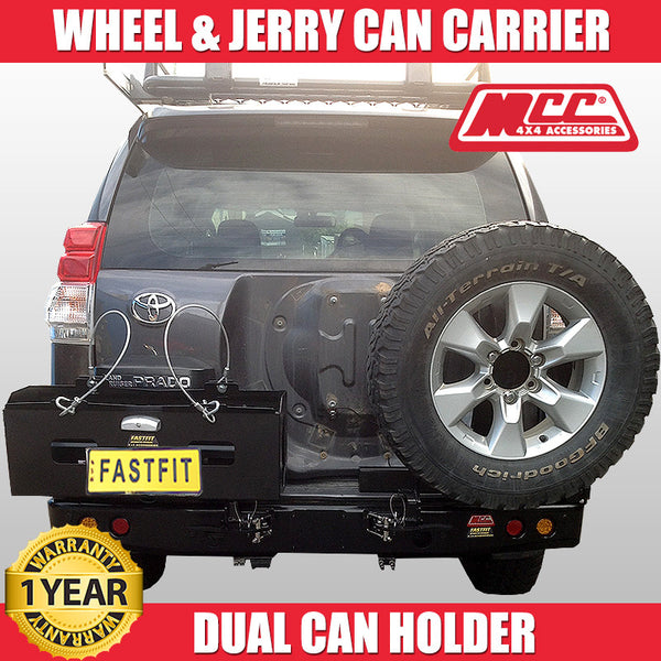 MCC4x4 022-02 Rear Step Carrier Bar With Single Wheel Carrier & Double Jerry Can Holder To Suit Toyota Prado 150 - 2010 ON