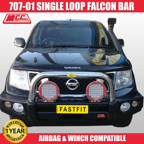 MCC4x4 707-01 Single Loop Falcon Bull Bar to Suit Nissan Navara D40 - 2011 ON Africa-Spain STX