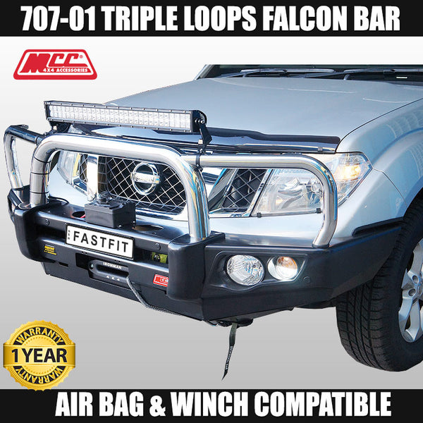 MCC4x4 707-01 Stainless Triple Loop Falcon Bull Bar To Suit Nissan Pathfinder R51 4 Cyl Only - 2011 ON