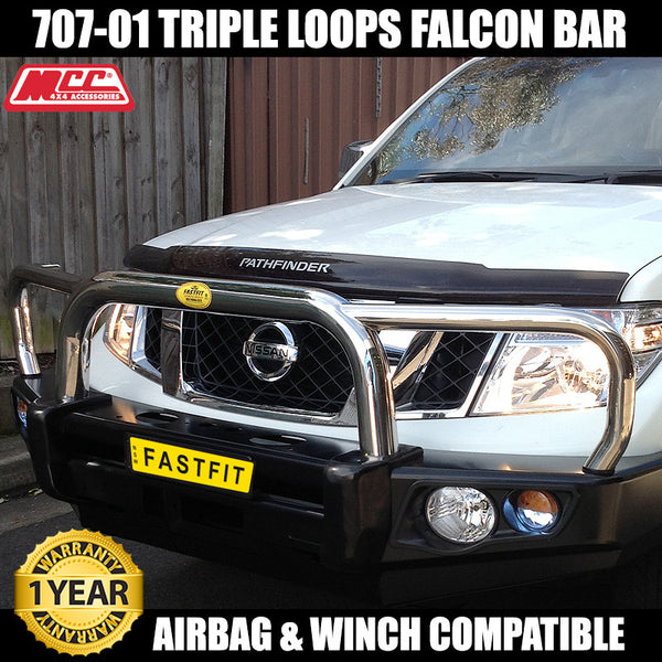 MCC 707-01 Stainless Triple Loop Falcon Bull Bar to suit Nissan Pathfinder R51 4 Cyl Only 06/2010-09/2013
