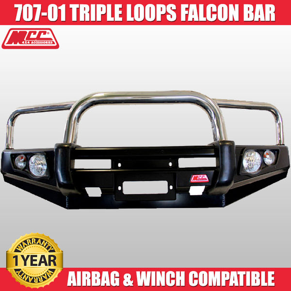 MCC4x4 707-01 Stainless Steel Triple Loops Falcon Bull Bar To Suit Toyota Land Cruiser 200 INCL Face Lift - 2010 ON