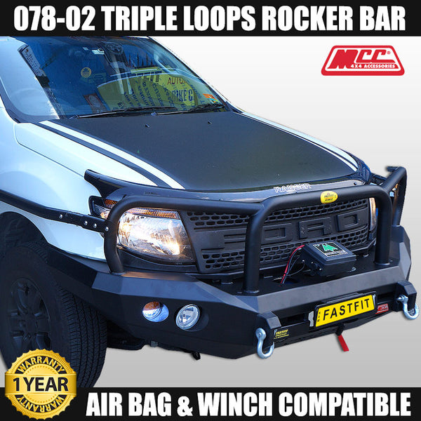 MCC 078-02 Triple Loop Rocker BullBar to suit Ford Ranger PX MK I 09/2011-07/2015
